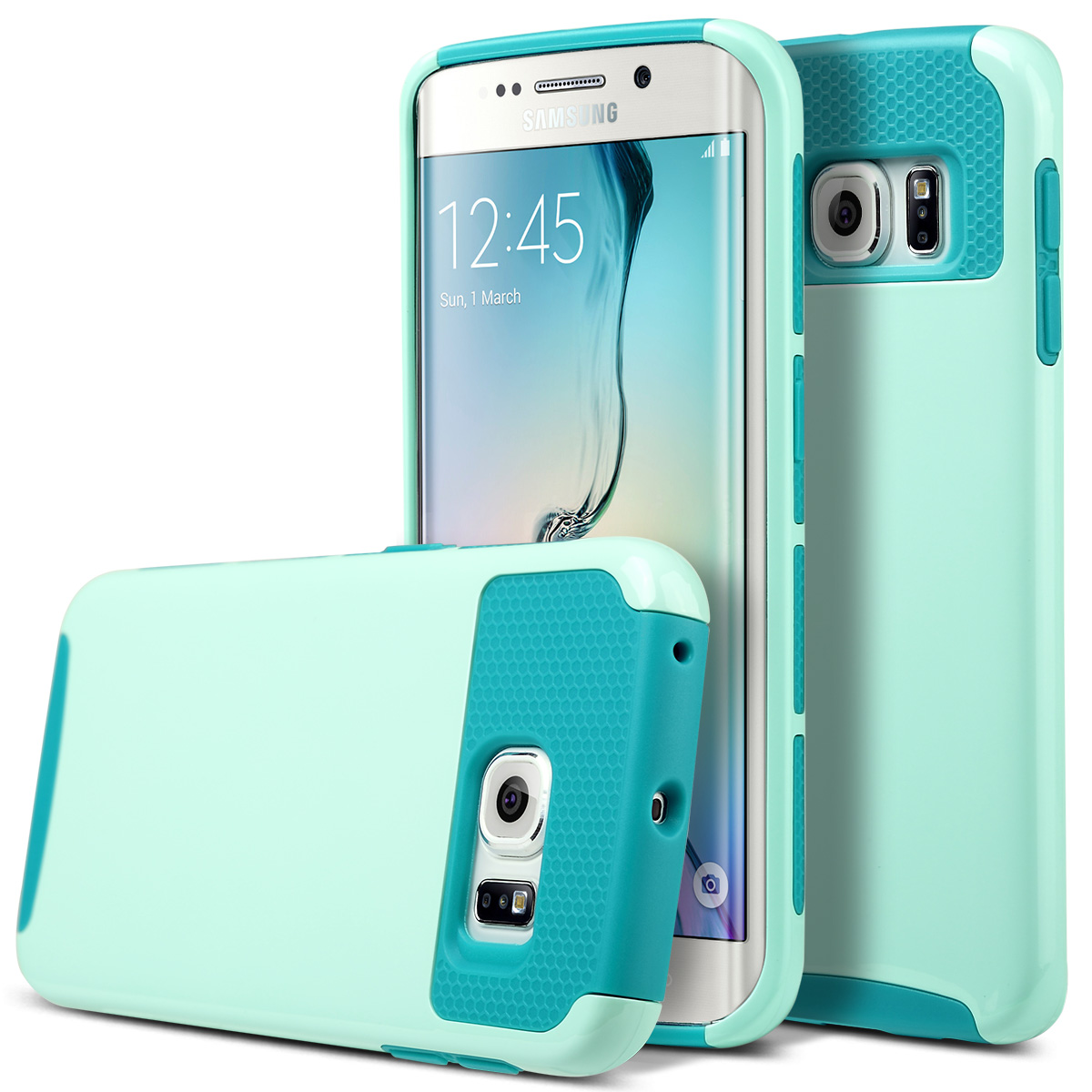 ULAK Galaxy S6 Edge Case, 2 in 1 Hybrid Dual Layer Protective Case Cover for Samsung Galaxy S6 Edge - Cyan+Light Cyan