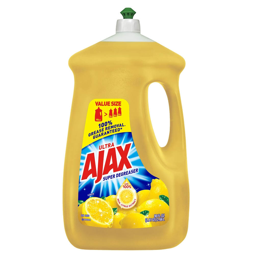 Ajax Ultra Triple Action Liquid Dish Soap, Lemon - 90 fl oz