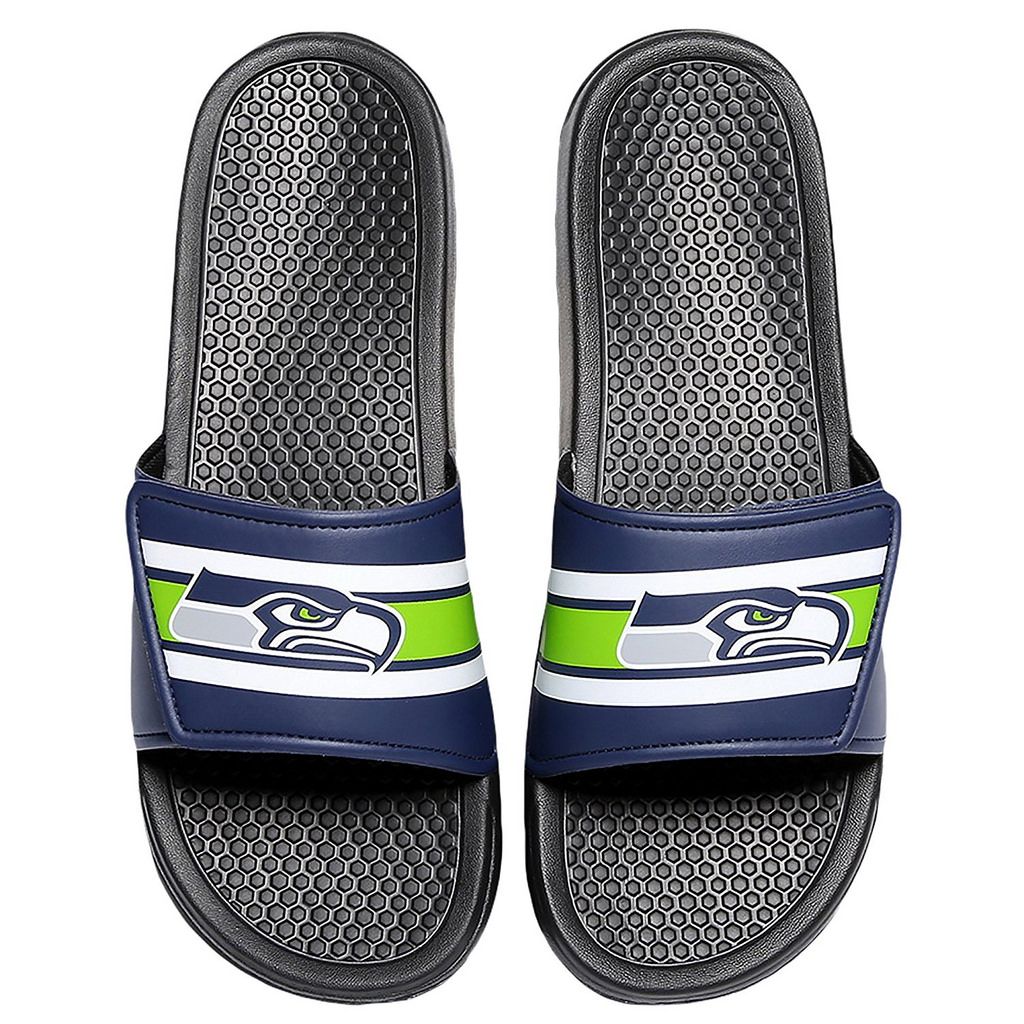 Seattle Seahawks Men's Legacy Shower Sport Slide Flip Flop Sandals (X-Large)