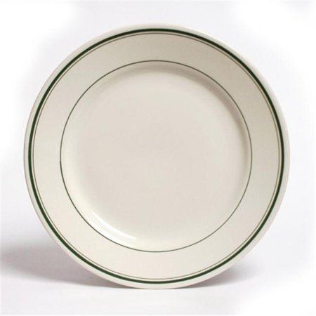 Tuxton China TGB-031 Green Bay 6.25 in. Wide Rim Rolled Edge China Plate - American White with Green Band - 3