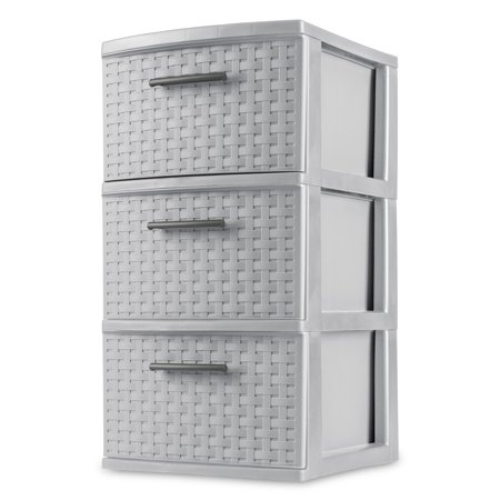 Sterilite, 3 Drawer Weave Tower, Cement, Set of 2