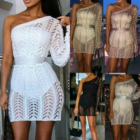 Multitrust Fashion Women One shoulder Single Sleeve Sexy Slim Knit Dress Clubwear (Singlet Womens)