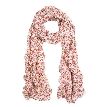 - Elegant Cherry Blossom Floral Chiffon Scarf