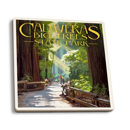 Calaveras Big Trees State Park, California - Pathway in Trees - Lantern Press Artwork (Set of 4 Ceramic Coasters - Cork-backed, Absorbent)