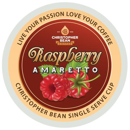 Amaretto Raspberry Single Cup Coffee Christopher Bean Coffee, For Keurig Brewers ( 18 Count Box)