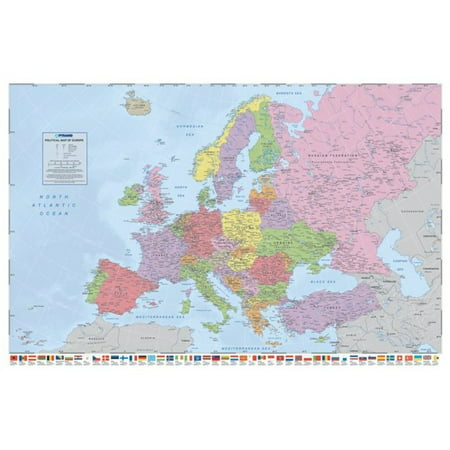 Political Map of Europe - Flags Political Reference Educational Poster - 36x24 inch