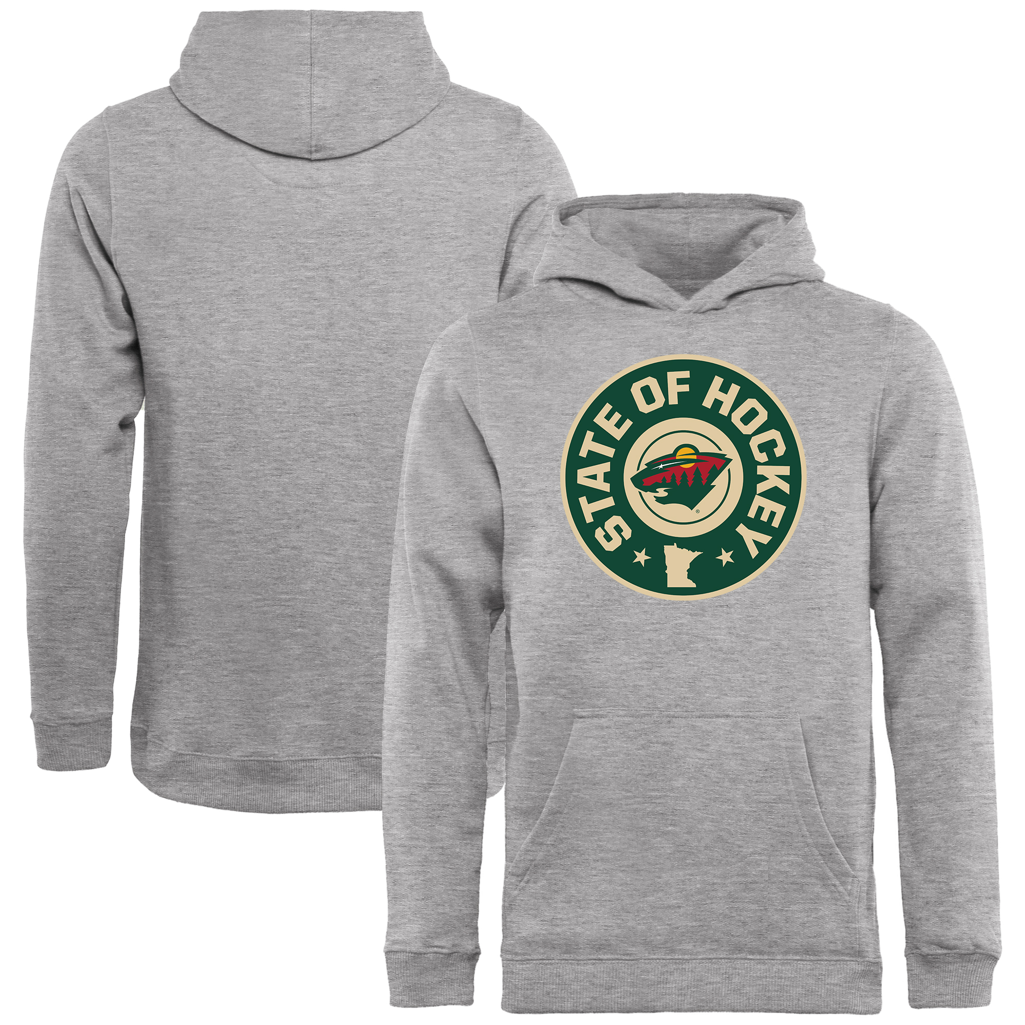 Minnesota Wild Youth Hometown Collection Hockey State Pullover Hoodie - Ash