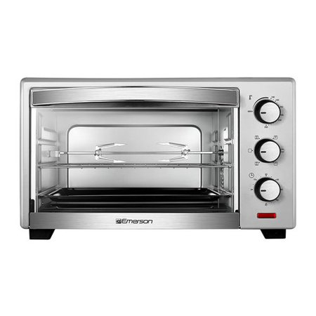 - Emerson 6-Slice Convection & Rotisserie Counter top Toaster Oven in Stainless Steel, ER101003
