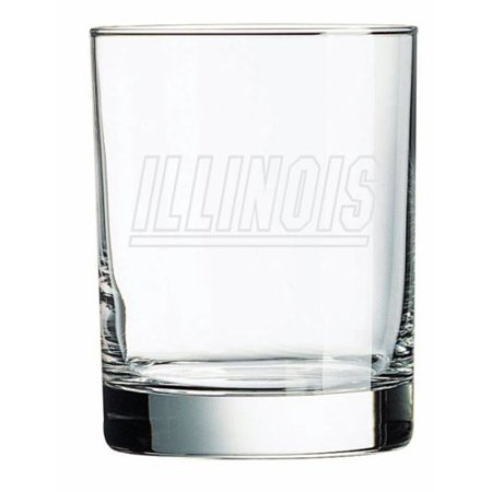 (Illinois Fighting Illini Deep Etched Double Old Fashion Glass)