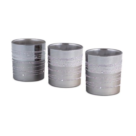 Set of 3 Glitter Swirled Gunmetal Gray Two-Tone Glass Tealight Candle Holders 3