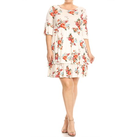 75657f7e8f0 Moa Collection - Women s Plus Size Floral Pattern Print Short Dress -  Walmart.com