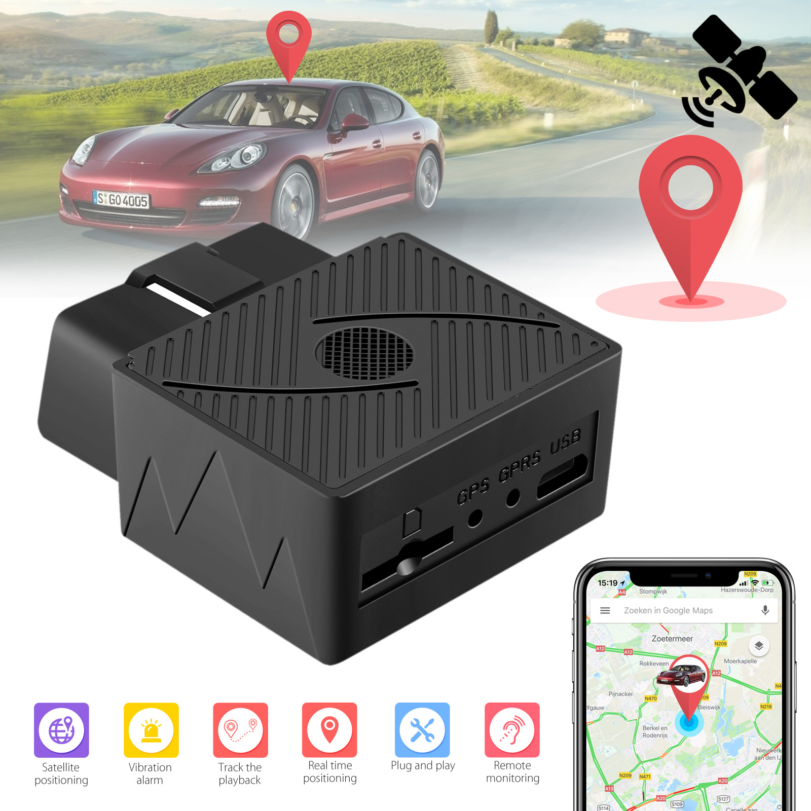Mini OBD GPS GSM GPRS Car Vehicle Tracker Real Time Locator Free App's Contracts