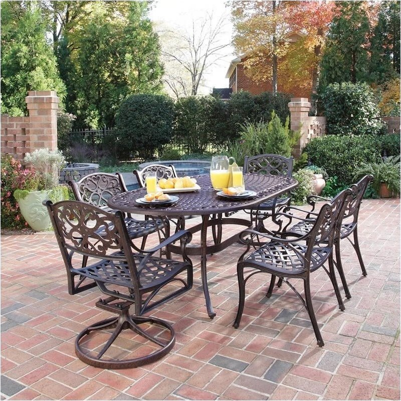 Bowery Hill 7 Piece Metal Patio Dining Room Set in Bronze by Bowery Hill