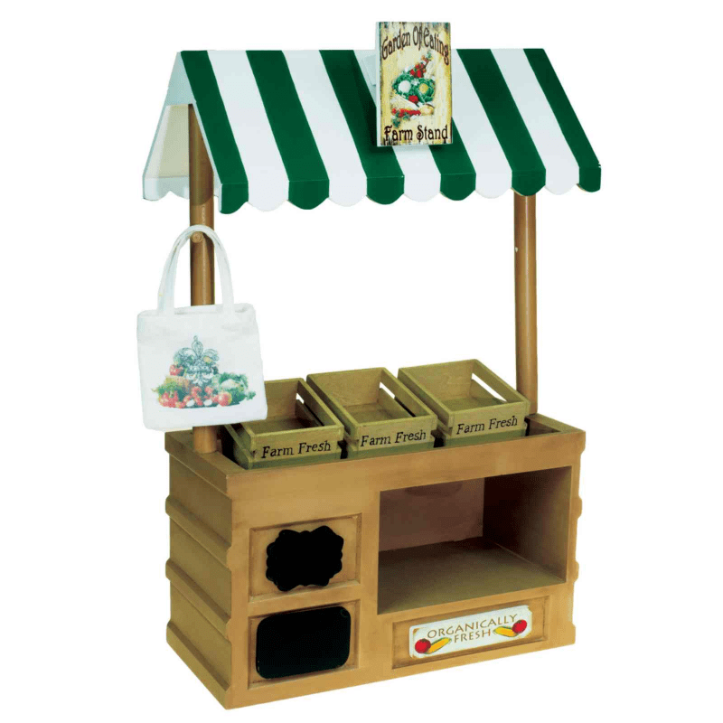 18 In Doll Furniture, Interchangeable Farm Stand, Signs, 3 Wood Crates, Tote Bag by The Queen's Treasures