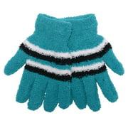 Women Teal White Black Stripe Butter Gloves