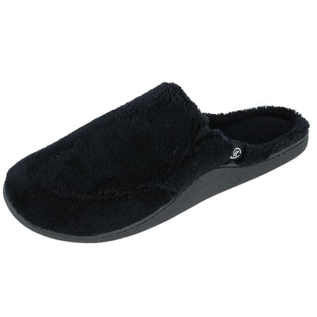 totes ISOTONER Size Large Mens Microterry Open Back Clog Slippers, Black