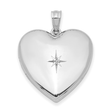 925 Sterling Silver 24mm Diamond Star Design Heart Photo Pendant Charm Locket Chain Necklace That Holds Pictures Gifts For Women For Her