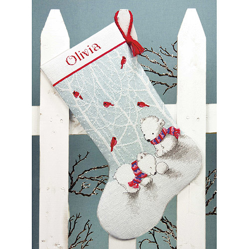 "Snow Bears Stocking Counted Cross Stitch Kit, 16"" Long 14 Count"