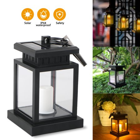 TSV Outdoor Solar Lantern Hanging Light LED Candle Yard Patio Garden Lamp Waterproof
