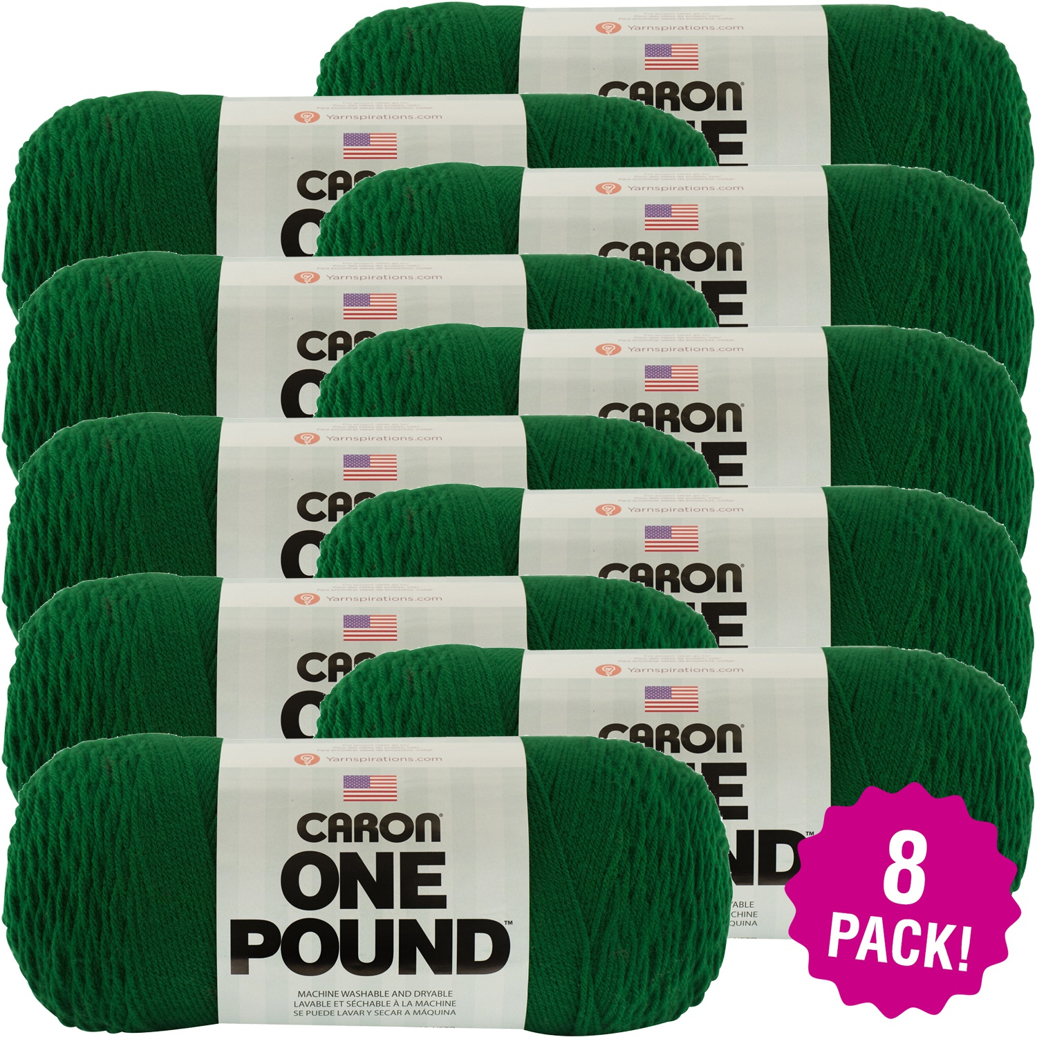 Caron One Pound Yarn - Kelly Green, Multipack of 8