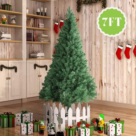 7' Artificial Christmas Tree Unlit - Amazingforless 7ft Fake Christmas Pine Tree 890 Tips Green 7 Foot Christmas Tree with Plastic Base for Holidays 7' x