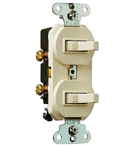 Pass and Seymour 690-LAG Light Almond Combination Dual Toggle Light Switches