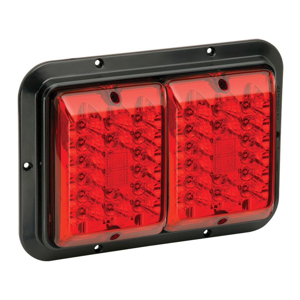 Bargman 47-84-610 Prewired LED Surface Mount Trailer RV Double Taillight, Red