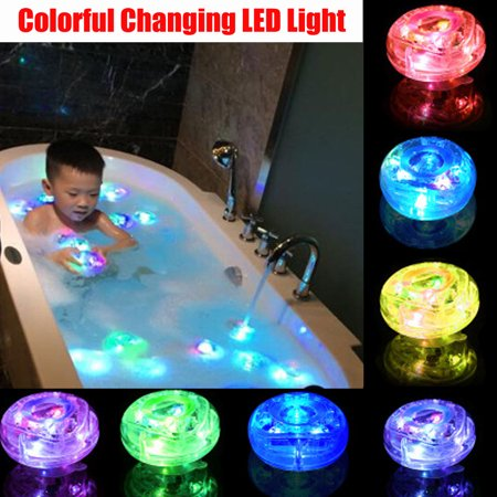 2PCS Kids Baby Bath Light Up Toys LED Lamp Waterproof Bathroom Shower Time Tub Bath Swimming Pool Colorful Changing (Led In Toys)