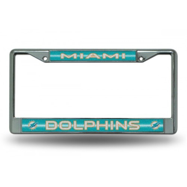 Miami Dolphins Glitter Chrome License Plate Frame Free Screw Caps with this Frame