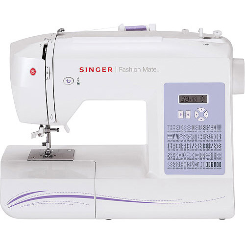 Singer 5500 Fashion Mate Sewing Machine, Factory-Serviced, White/Purple