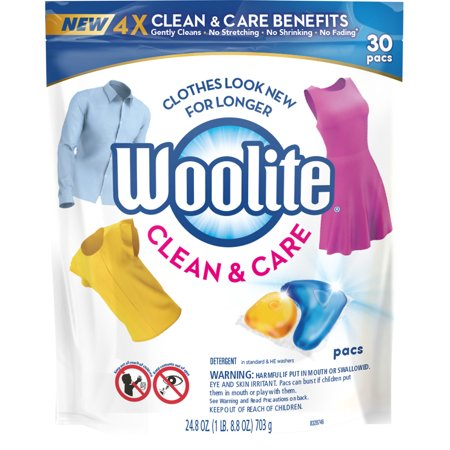 Woolite Clean & Care Pacs, Laundry Detergent Pacs, 30 Count, for Standard and HE (Ok To Use He Detergent In Regular Washer)