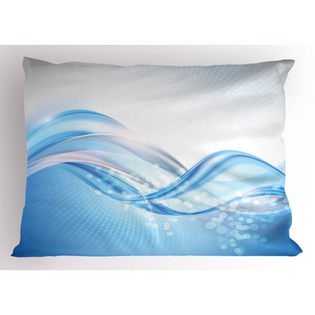 Abstract Pillow Sham Modern Wavy Ocean Surfer Summertime themed Bubble Detailed Work of Art, Decorative Standard Queen Size Printed Pillowcase, 30 X 20 Inches, Pale Blue and White, by Ambesonne
