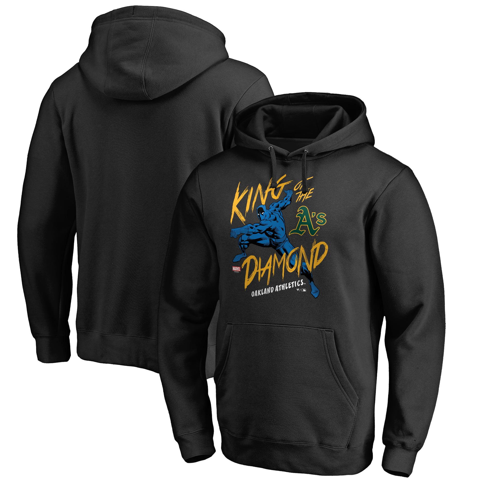 Oakland Athletics Fanatics Branded MLB Marvel Black Panther King of the Diamond Pullover Hoodie - Black