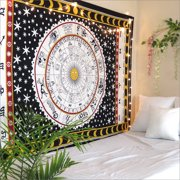 Black and White Horoscope Tapestry Zodiac Wall Hanging Dorm Room Tapestries Twin Size Yoga Mat Meditation Throw Blanket Beach Throws by Oussum