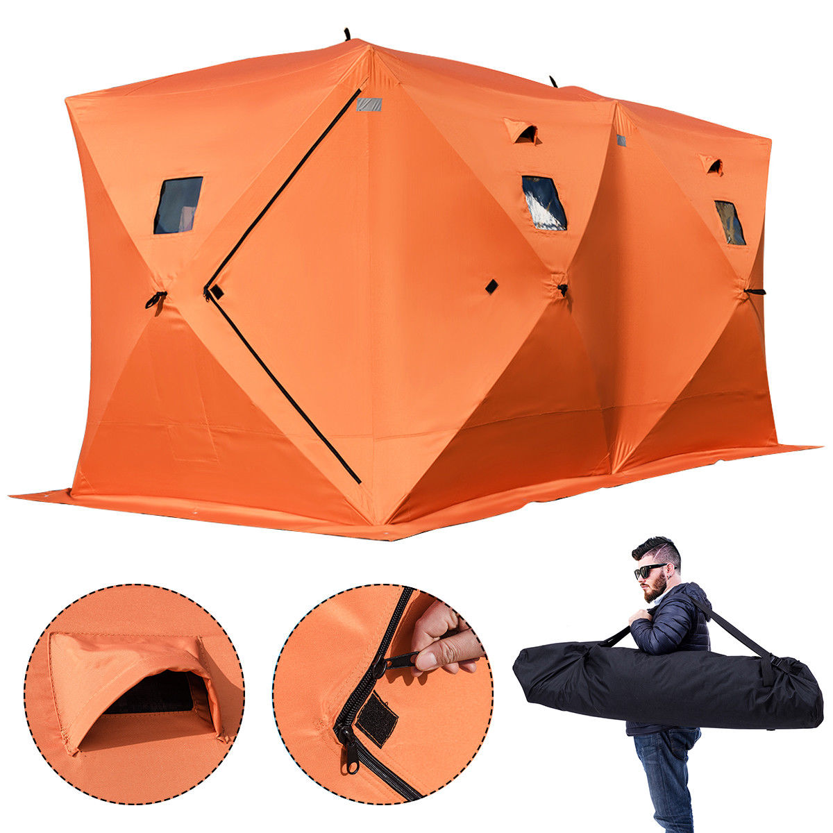 Gymax Waterproof Pop-up 8-person Ice Shelter Fishing Tent Shanty Window w Carrying Bag by Gymax