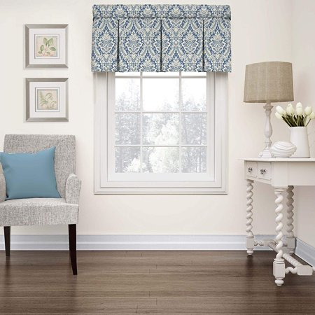 Waverly Valances for Windows Donnington 52 By 18 Inches Short Curtain Valance Small Window Curtains for Bathroom, Living Room and Kitchens, Cornflower (New without Tags) ()