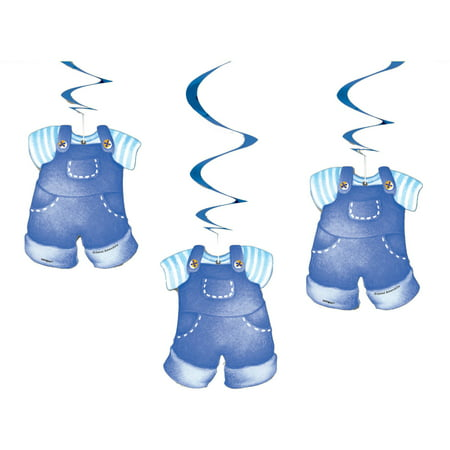 (Hanging Clothesline Baby Shower Decorations, 26 in, Blue, 3ct)