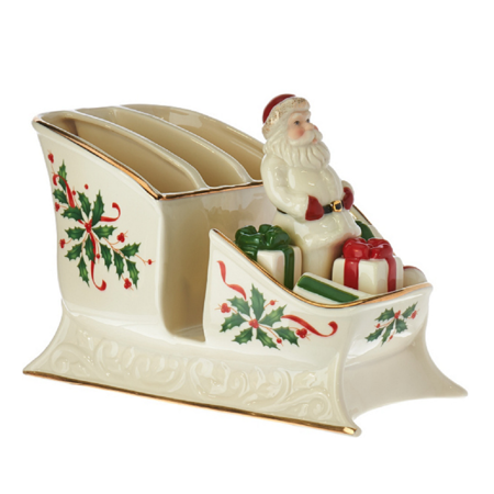 Lenox Holiday Gems - Lenox Holiday Christmas Santa Sleigh Caddy Centerpiece with Salt & Pepper Shaker