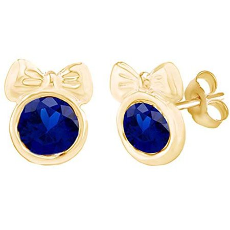 Round Shape Simulated Blue Sapphire Minnie Mouse Bow Stud Earrings 14K Yellow Gold Over Sterling Silver ()