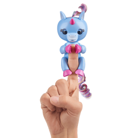 Fingerlings- Interactive Baby Unicorn - Stella (Blue with Rainbow Mane) - By WowWee