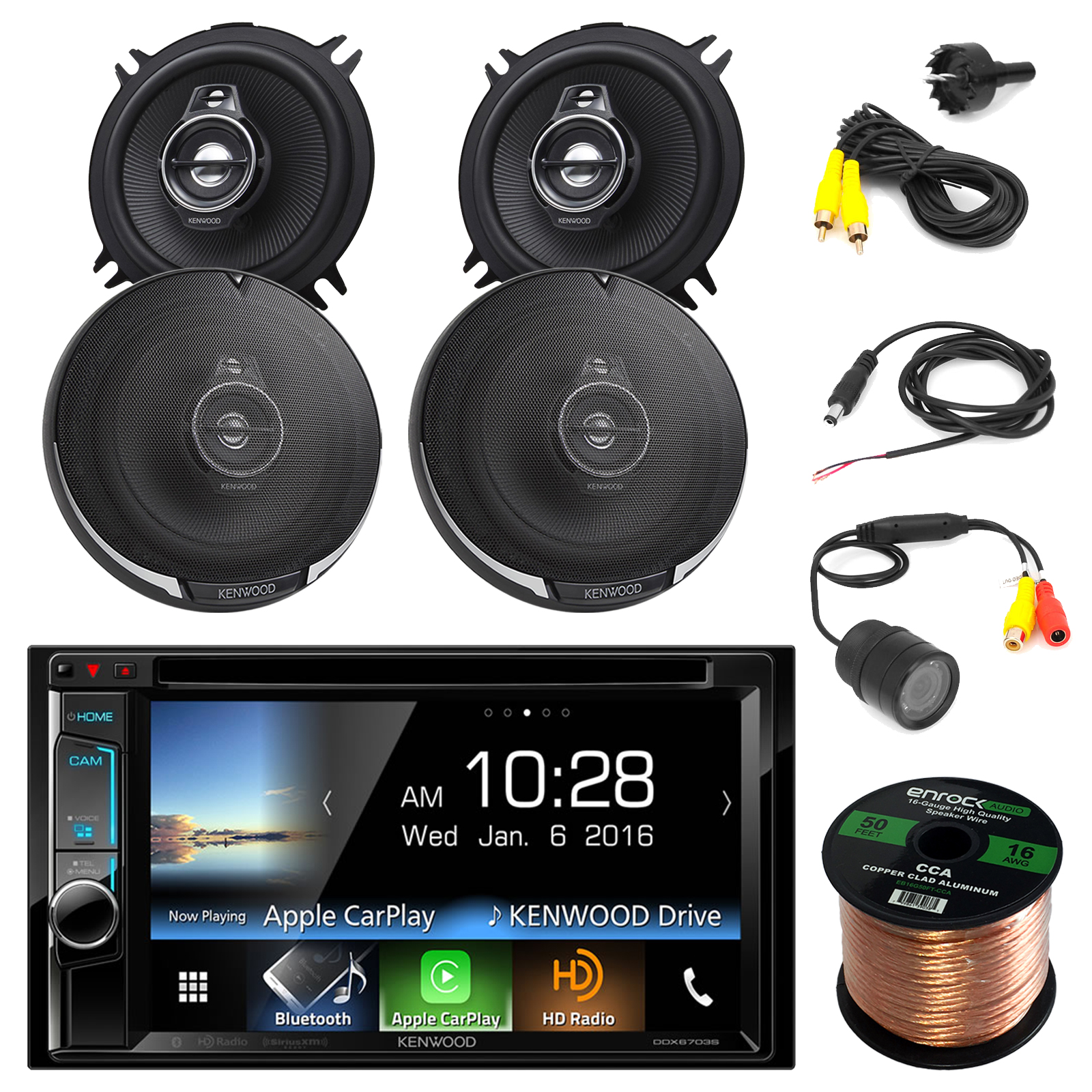 "Kenwood DDX6703S Stereo w/ 6.2"" Touch Screen + 2 X Kenwood KFC-1395PS 5 1/4"" 320W 3-Way Speakers (2 PAIRS ) + PYLE PLCM22IR Rear View Camera with Night Vision + Enrock Audio 16AWG 50ft Speaker Wire"