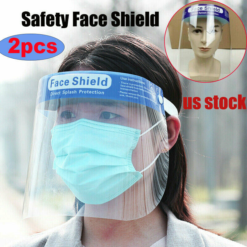 50 PCS Safety Full Face Shield Reusable Washable Protection Cover Face Mask