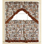 """Elegance Linen® Embroidered 3-Piece Kitchen Curtain Window Treatment Set - 2-Tiers : 30"""" x 36"""" and 1 Swag: 60"""" x 36""""  - Barn Roosters Design"""