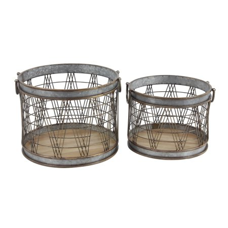 The Gray Barn  Jartop Set of 2 Industrial 13 and 16-inch Cylindrical Storage Baskets ()