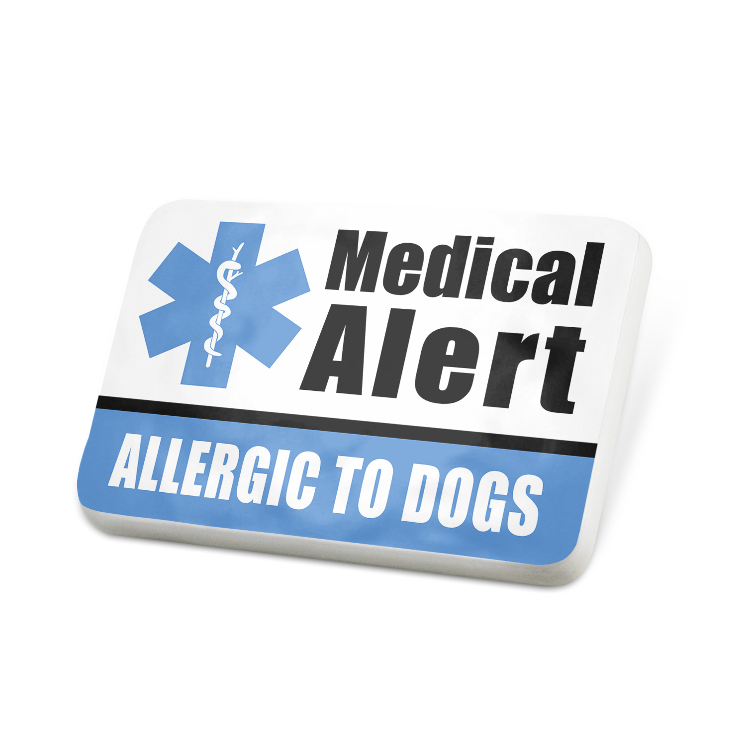 Porcelein Pin Medical Alert Blue Allergic to Dogs Lapel Badge – NEONBLOND