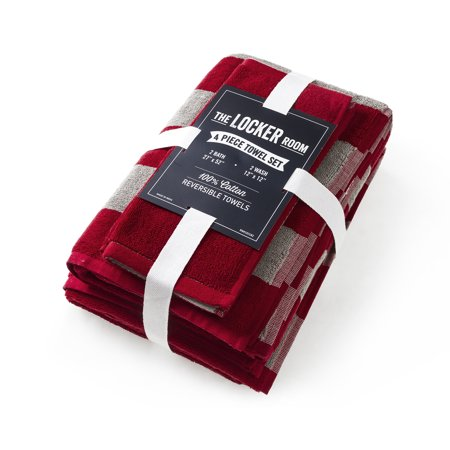 The Locker Room Rugby Stripe 4 Piece Reversible Towel Set