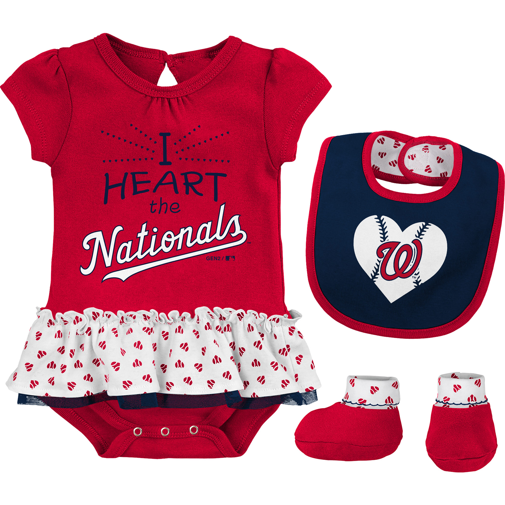 Washington Nationals Girls Infant Bodysuit, Bib And Booty Set - Red/Navy