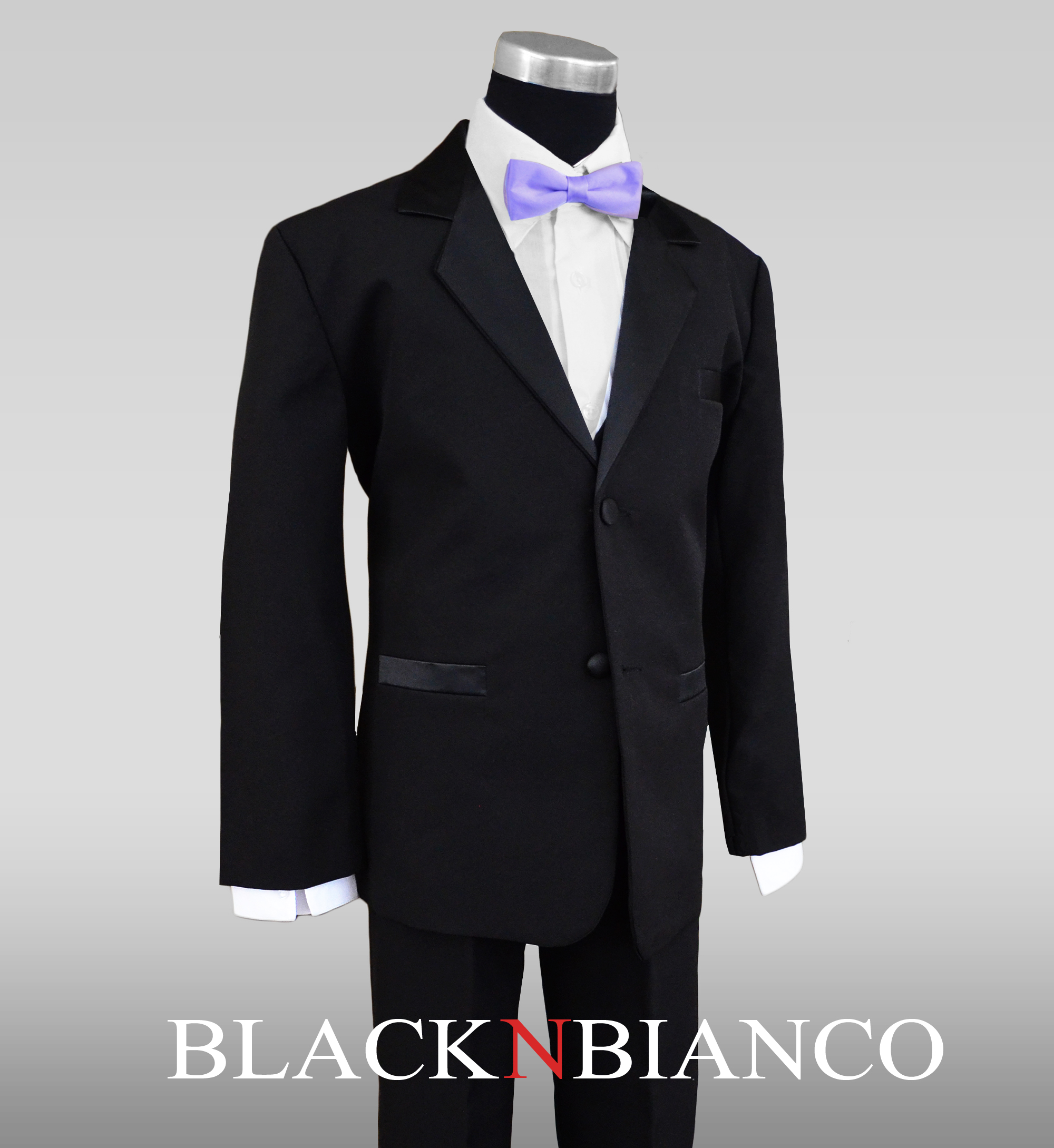 Big Boys Tuxedo in Black with a Lilac Light Purple Bow Tie
