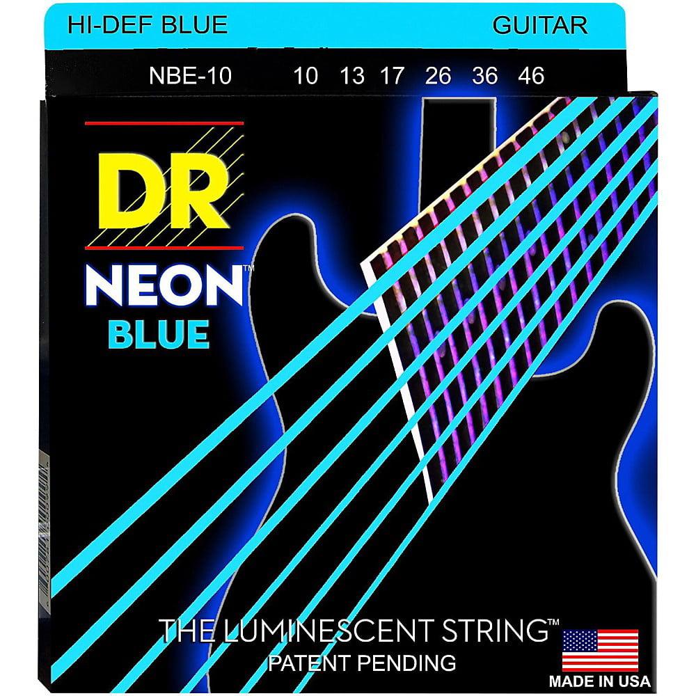 DR Strings Hi-Def NEON Blue Coated Medium (10-46) Electric Guitar Strings by DR Strings