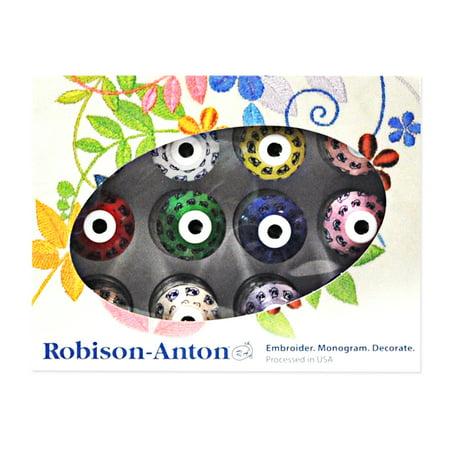 Robison Anton Embroidery Thread - Robison Anton 12 Mini Snap Spools Thread Set